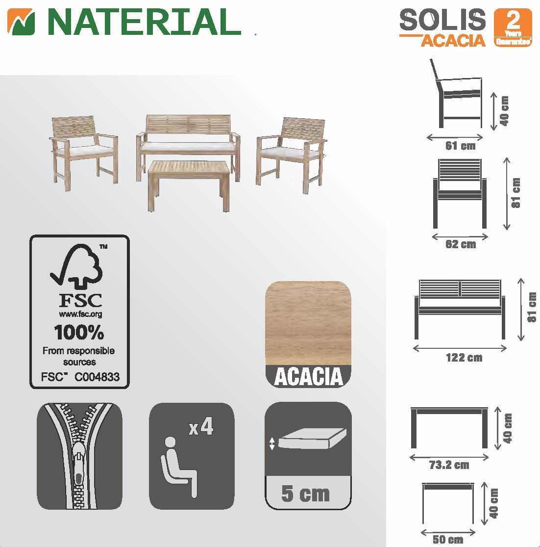 Coffee set rivestito in legno NATERIAL Solis per 4 persone - 12