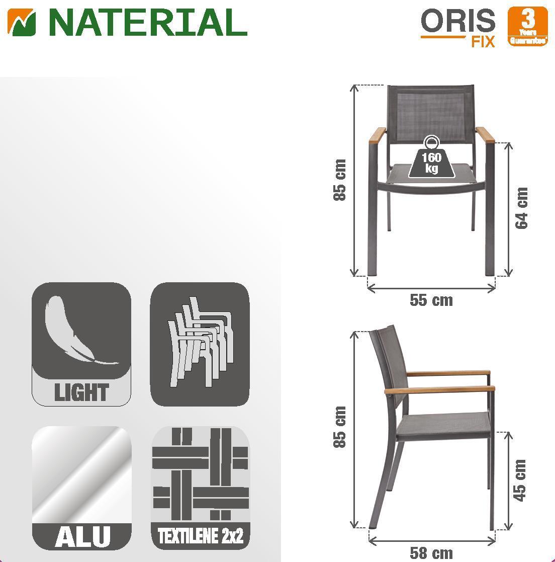 Sedia con braccioli senza cuscino in alluminio Oris NATERIAL colore teak - 6