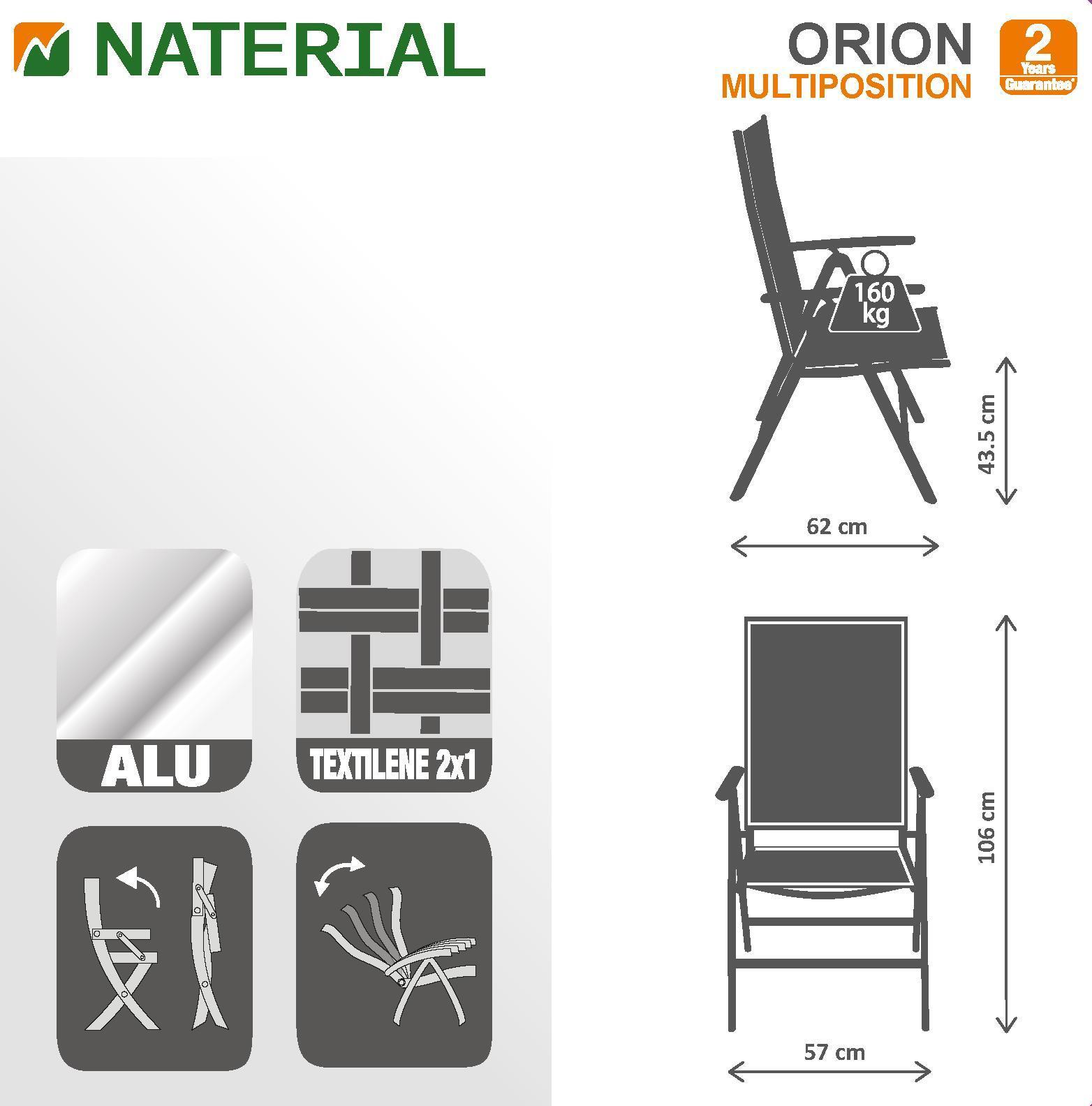 Sedia con braccioli senza cuscino pieghevole in alluminio Orion NATERIAL colore antracite - 17