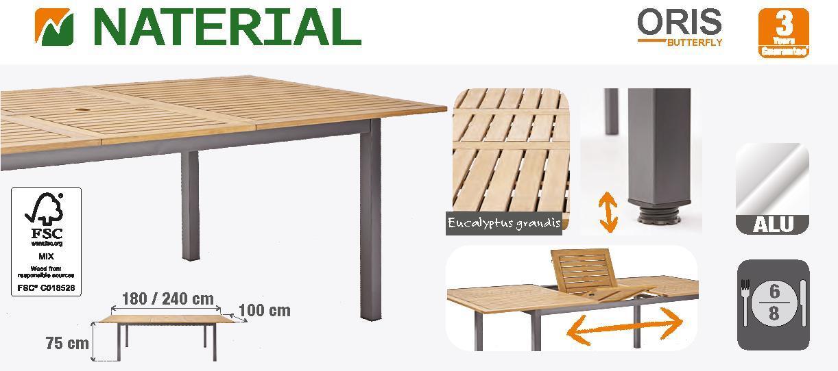 Tavolo da giardino allungabile rettangolare Oris NATERIAL con piano in legno L 180/240 x P 98.9 cm - 11