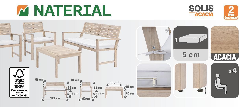 Coffee set rivestito in legno NATERIAL Solis per 4 persone - 18