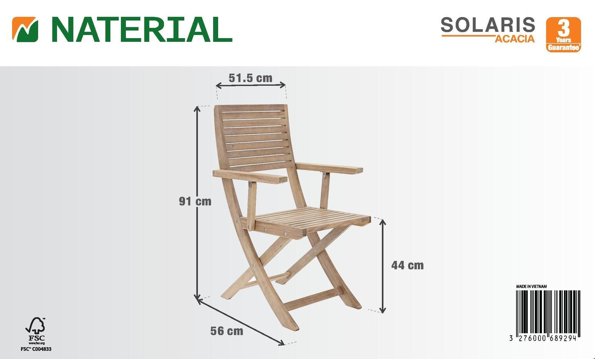 Sedia con braccioli senza cuscino pieghevole in legno Solaris NATERIAL colore acacia - 7