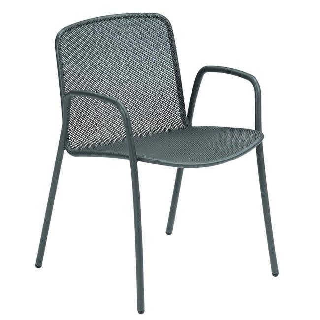 Sedia con braccioli senza cuscino Volta colore antracite - 1