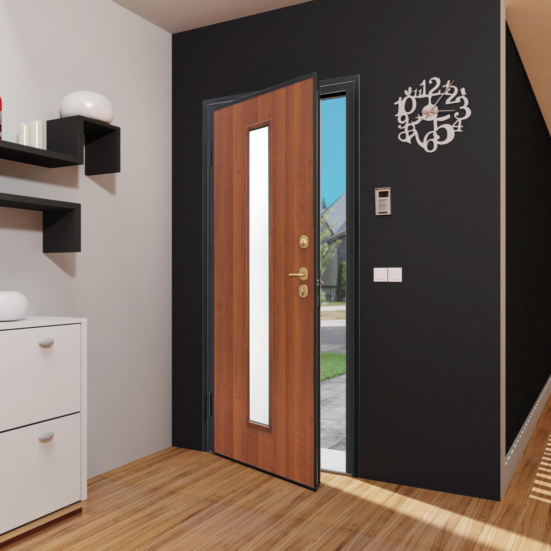 Porta blindata Mirror noce L 90 x H 210 cm destra - 2