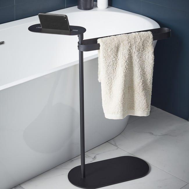 Piantana porta asciugamani Neo in acciaio resina epossidica nero - 1