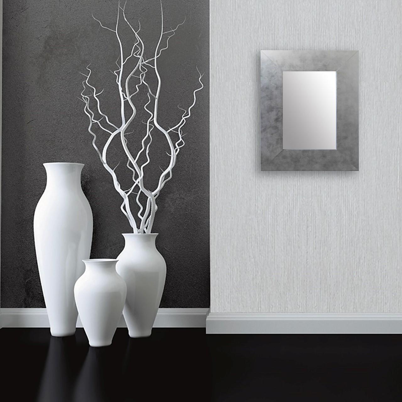 Specchio a parete rettangolare Osakan argento 60x90 cm - 1