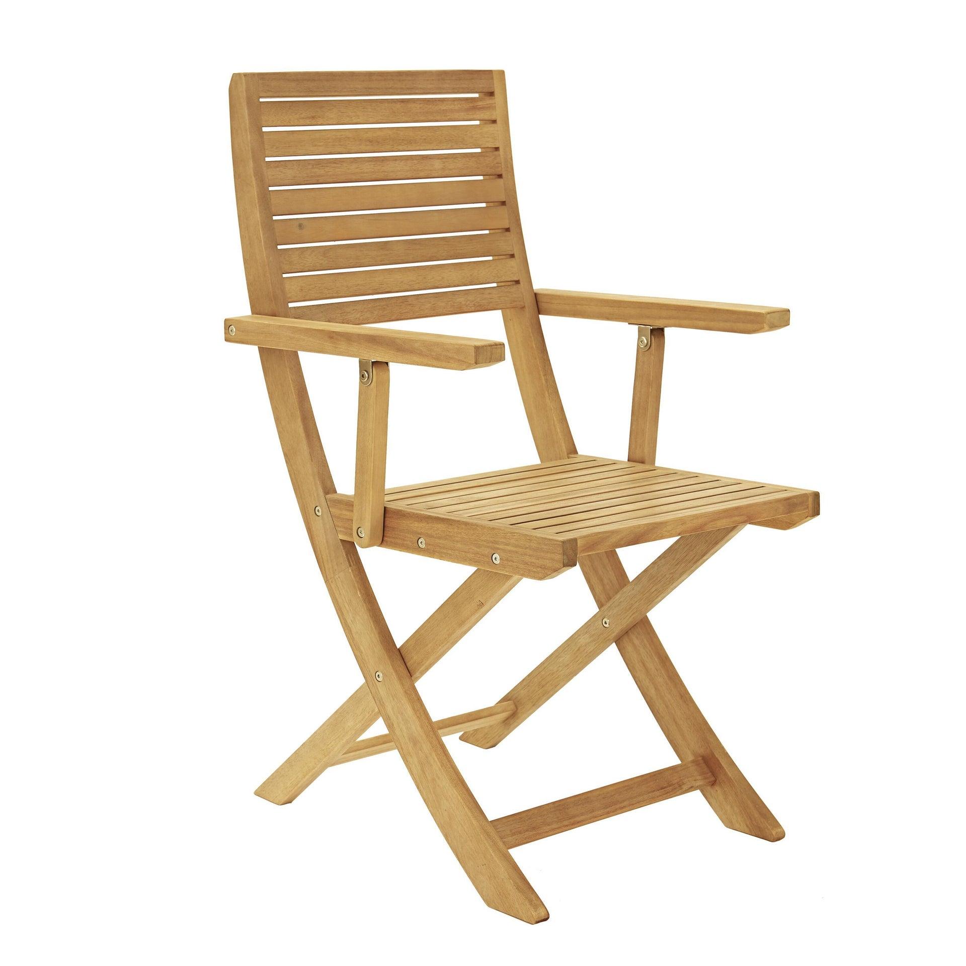 Sedia con braccioli senza cuscino pieghevole in legno Solaris NATERIAL colore acacia - 17