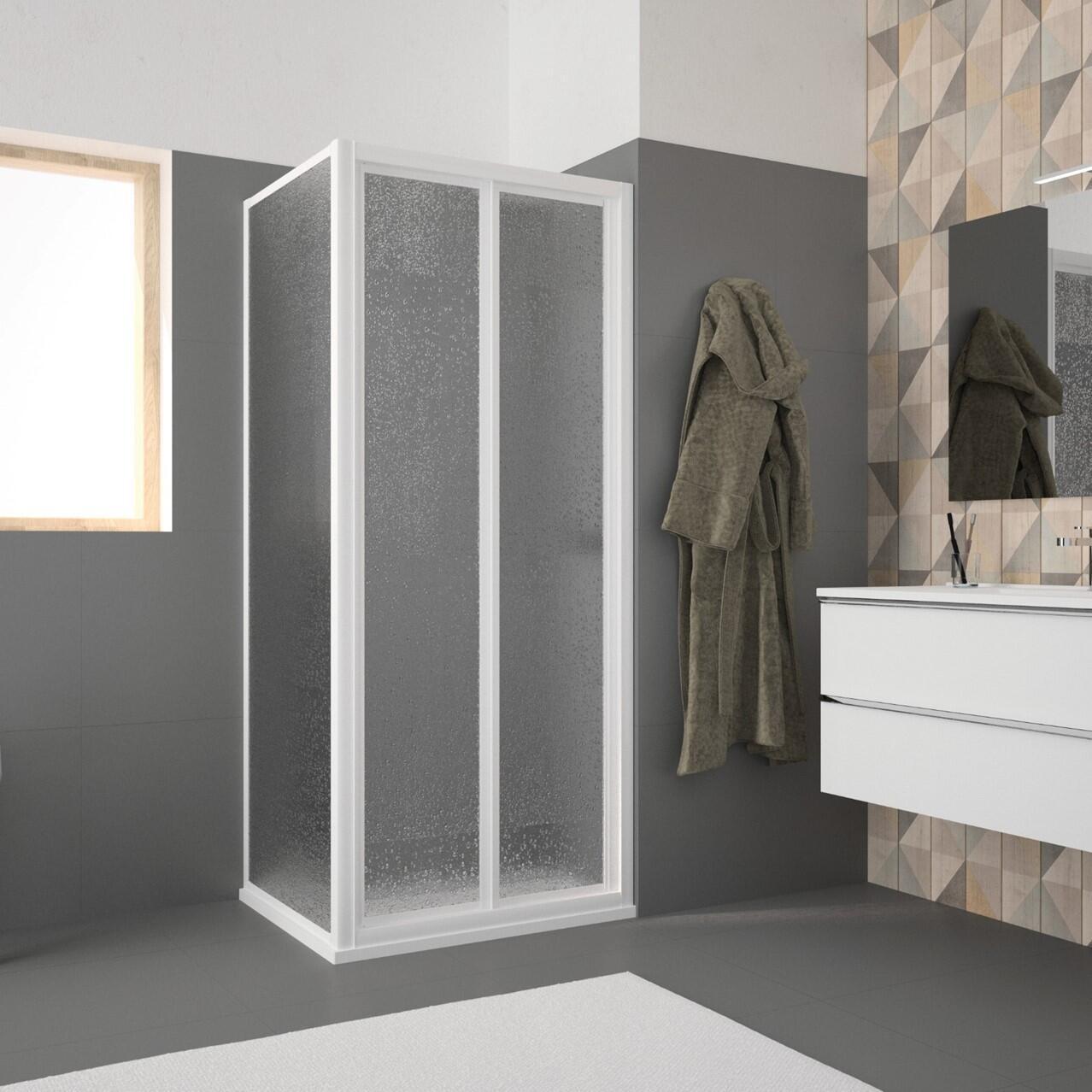Porta doccia pieghevole Opale 90 cm, H 185 cm in acrilico, spessore 2.8 mm acrilico piumato bianco - 1