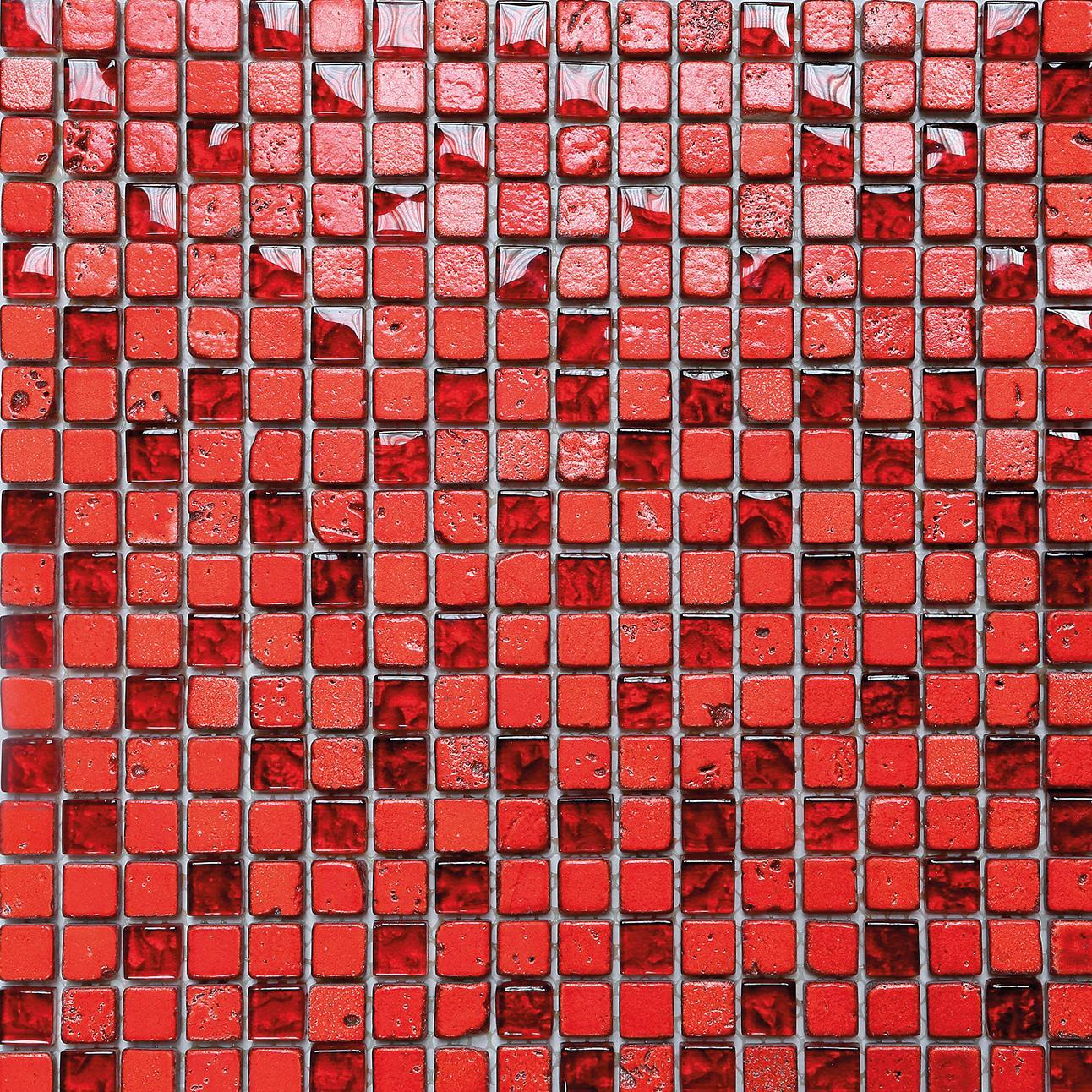 Mosaico H 30 x L 30 cm rosso - 3
