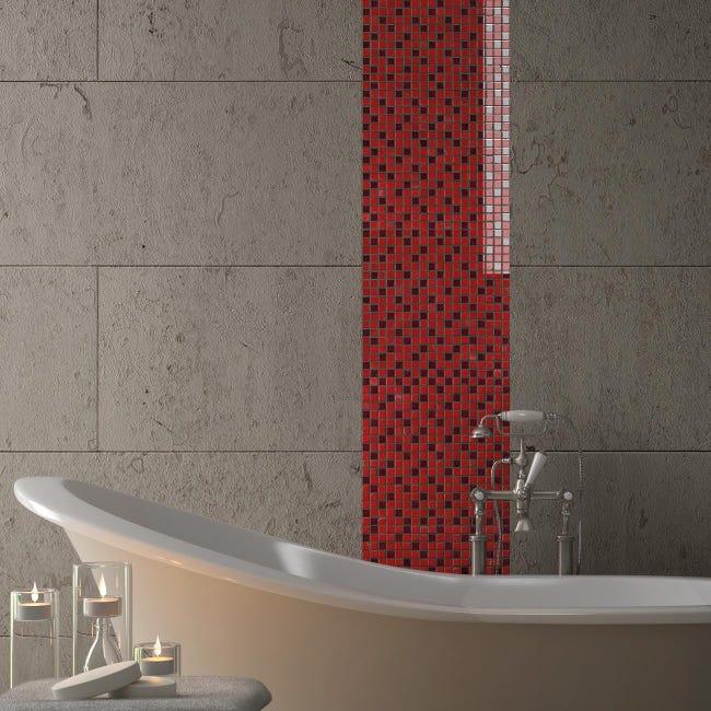 Mosaico H 30 x L 30 cm rosso - 1