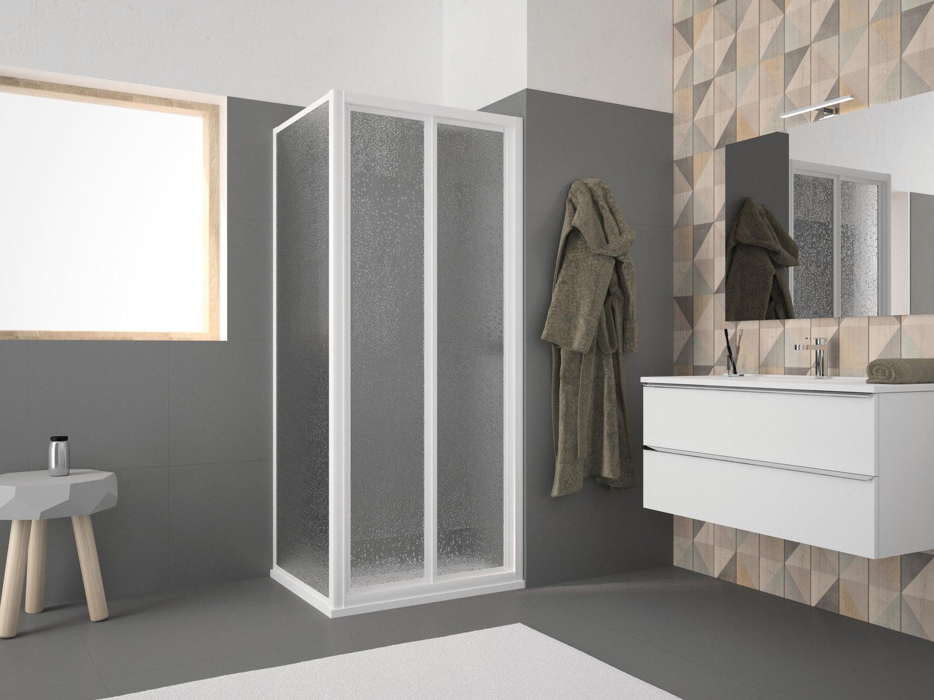 Porta doccia pieghevole Opale 90 cm, H 185 cm in acrilico, spessore 2.8 mm acrilico piumato bianco - 2