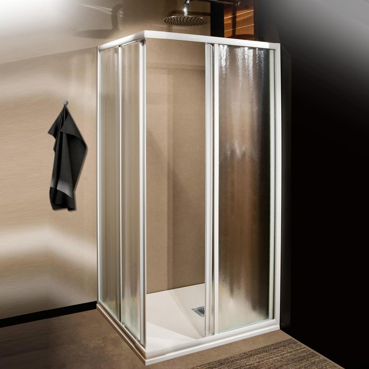 Box doccia rettangolare scorrevole Plumin 70 x 80 cm, H 185 cm in vetro temprato, spessore 3 mm acrilico piumato bianco - 1
