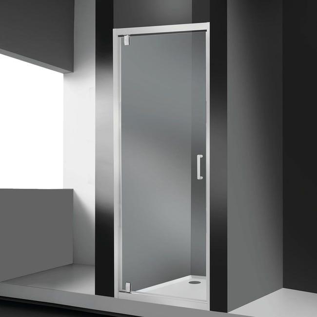 Porta doccia battente Sinque 70 cm, H 190 cm in vetro temprato, spessore 5 mm trasparente bianco - 1