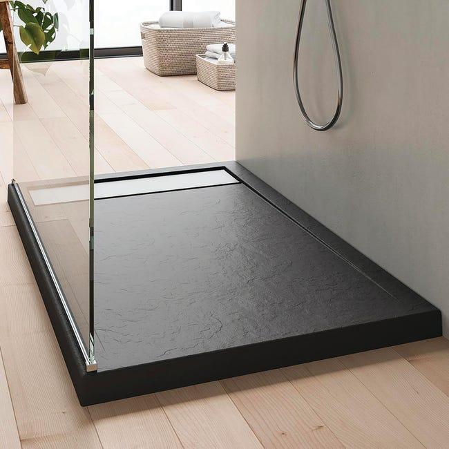 Piatto doccia acrilico rinforzato fibra di vetro Bali Stone 90 x 70 cm grigio antracite con superficie effetto ardesia - 1