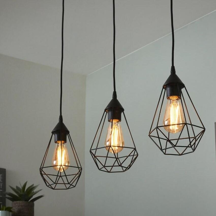Lampadario Design Byron nero in metallo, D. 72 cm, L. 79.5 cm, 3 luci, INSPIRE - 4