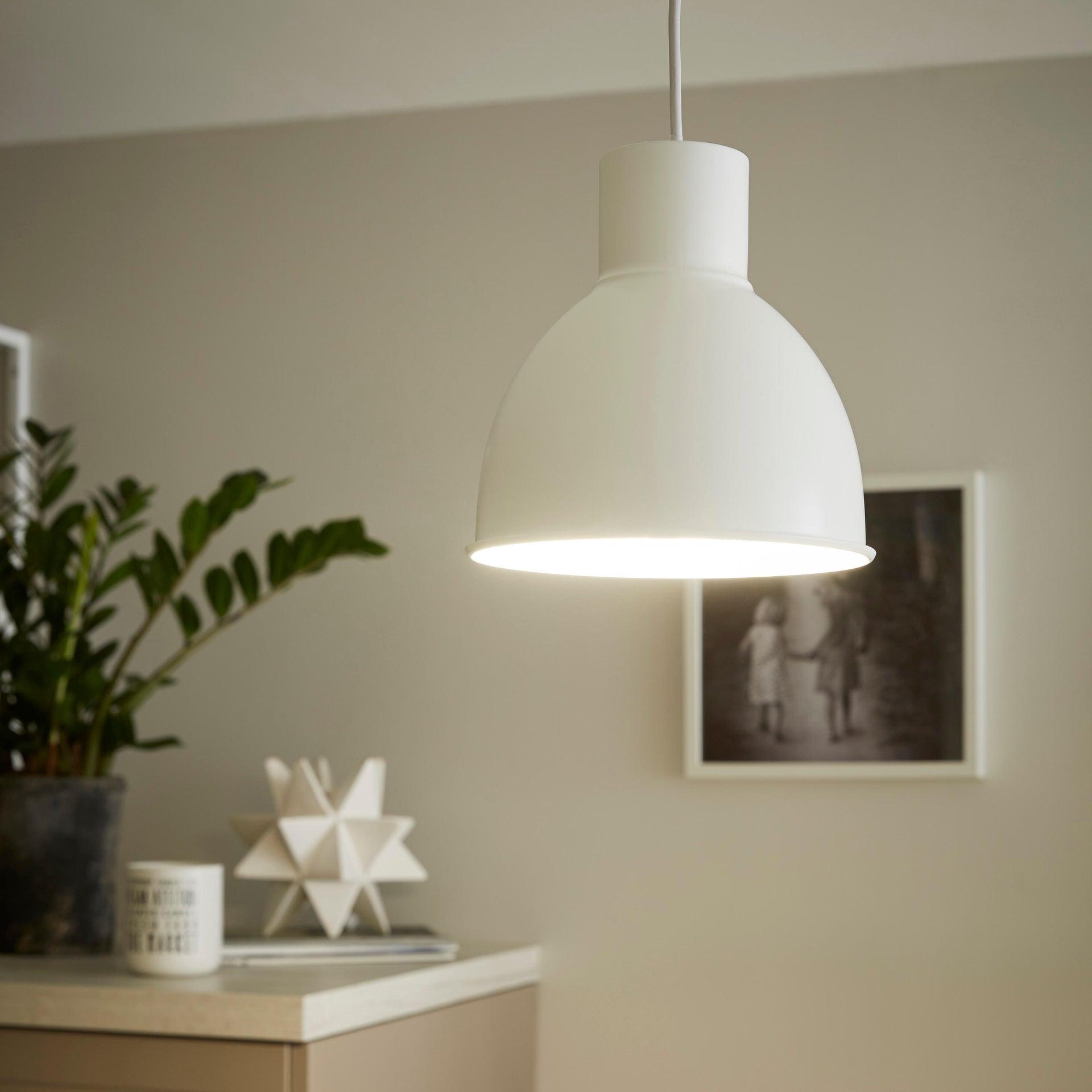 Lampadario Scandinavo Melga bianco in metallo, D. 20 cm, INSPIRE - 9