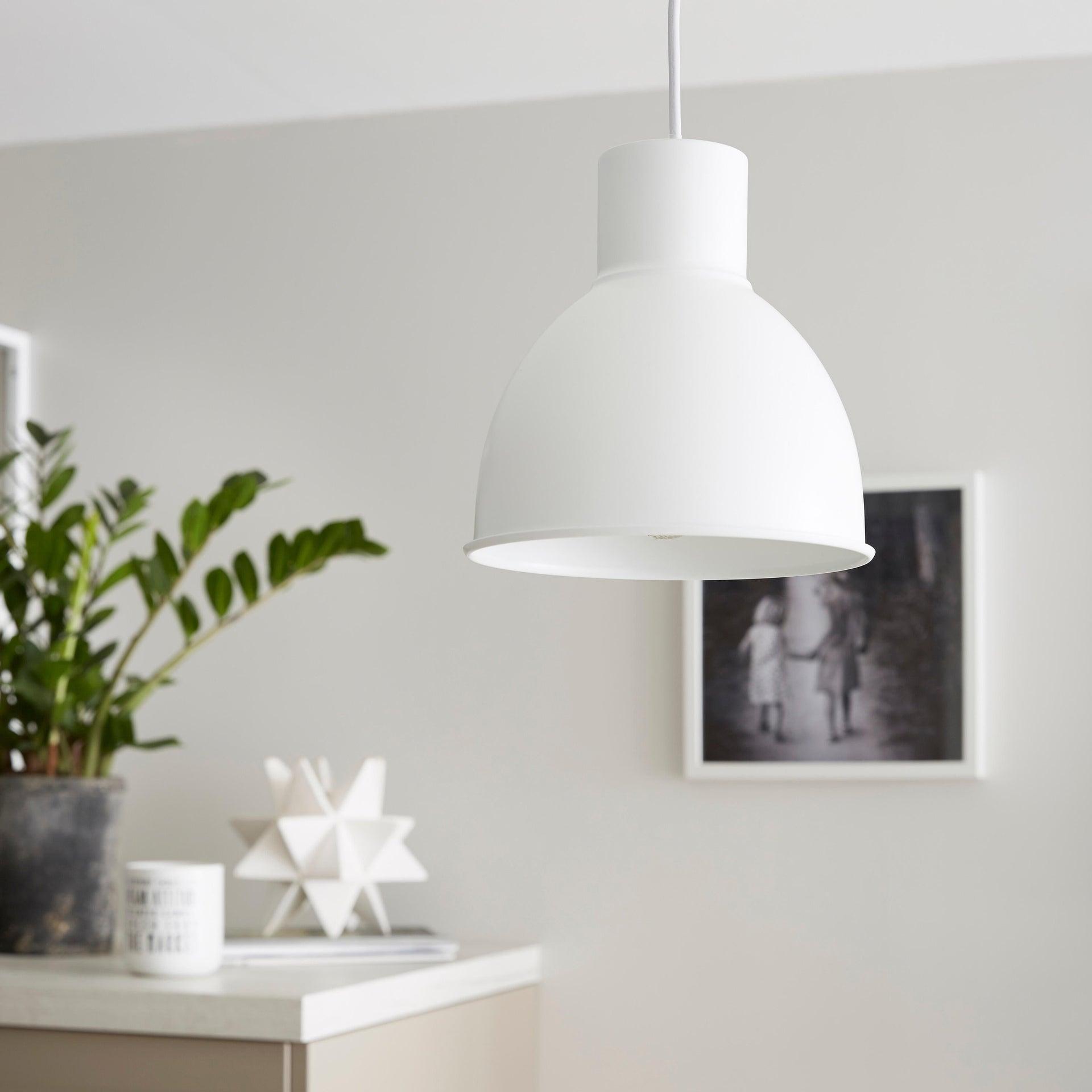 Lampadario Scandinavo Melga bianco in metallo, D. 20 cm, INSPIRE - 1