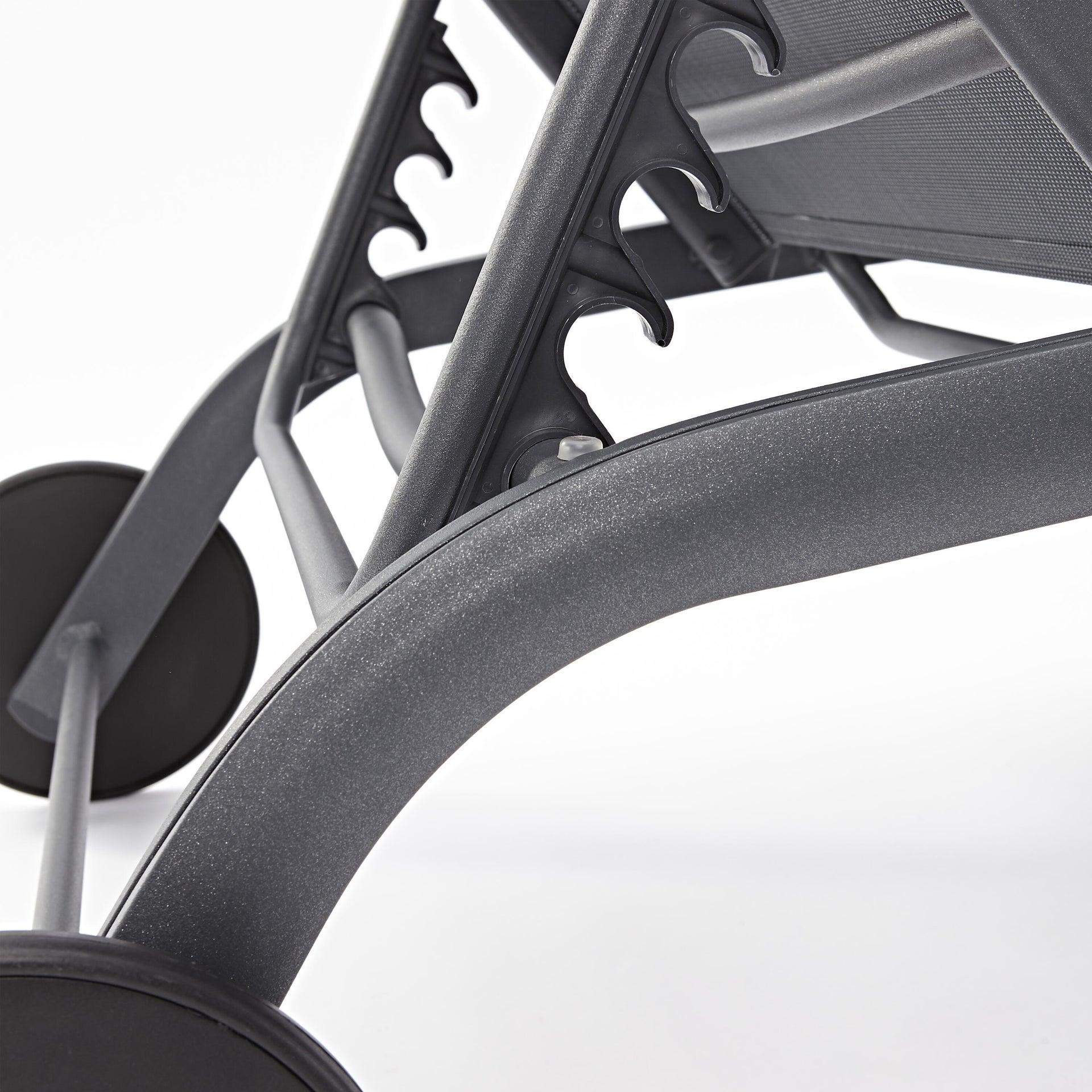 Lettino senza cuscino impilabile NATERIAL Lyra in alluminio grigio scuro - 19