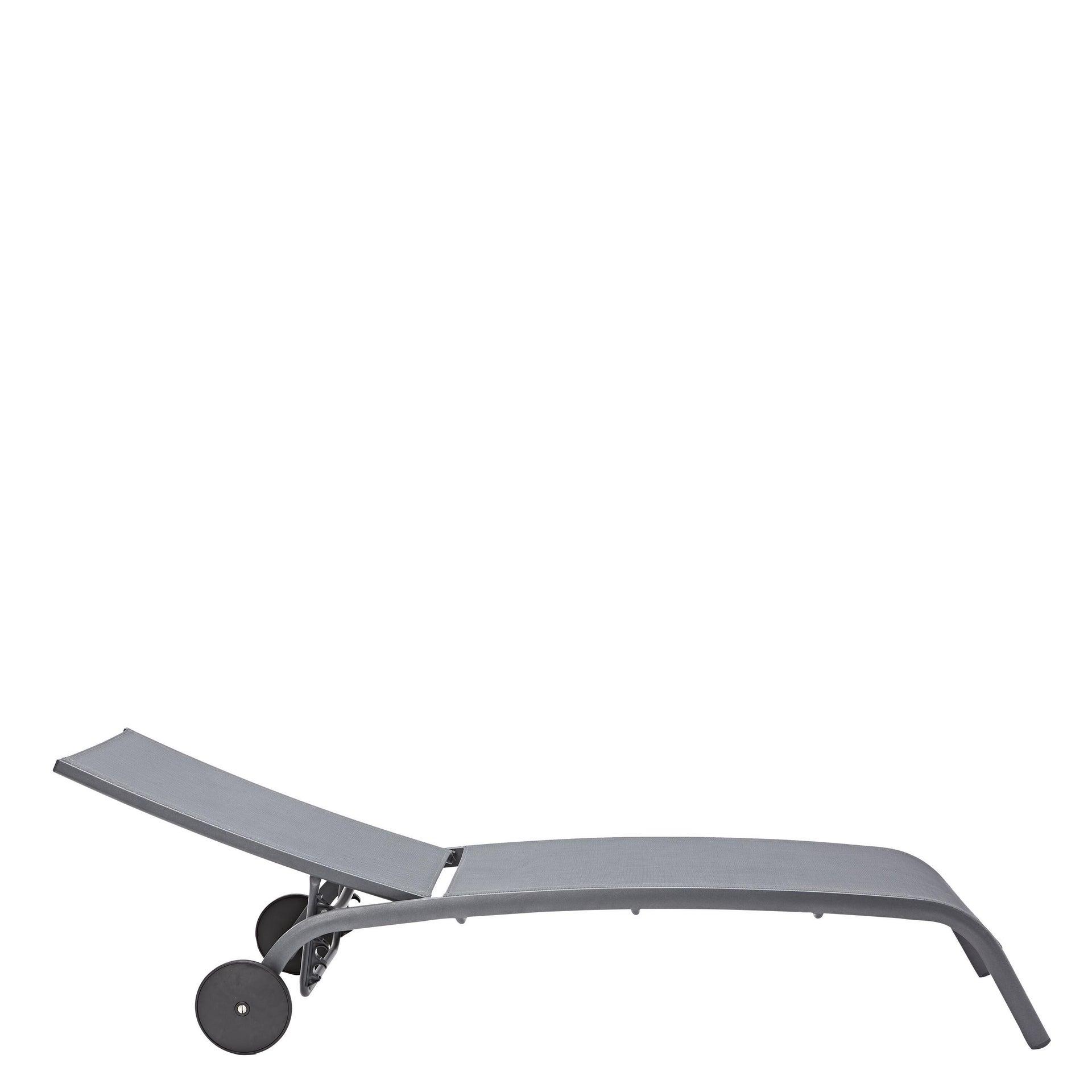 Lettino senza cuscino impilabile NATERIAL Lyra in alluminio grigio scuro - 6