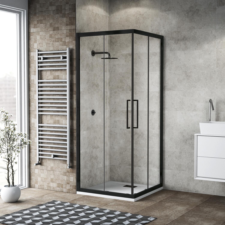 Box doccia rettangolare scorrevole Record 70 x 80 cm, H 195 cm in vetro temprato, spessore 6 mm trasparente nero