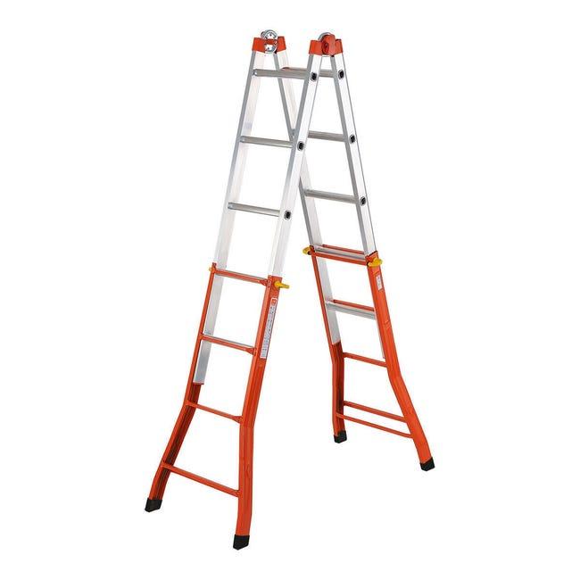 Scala telescopica in acciaio e alluminio 4+5 gradini per lavori fino a 5.21 m - 1