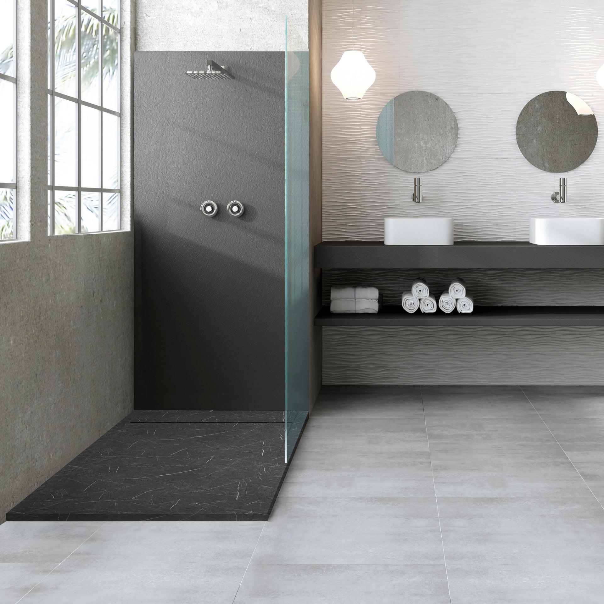 Piatto doccia gelcoat Neo marmo 70 x 80 cm nero