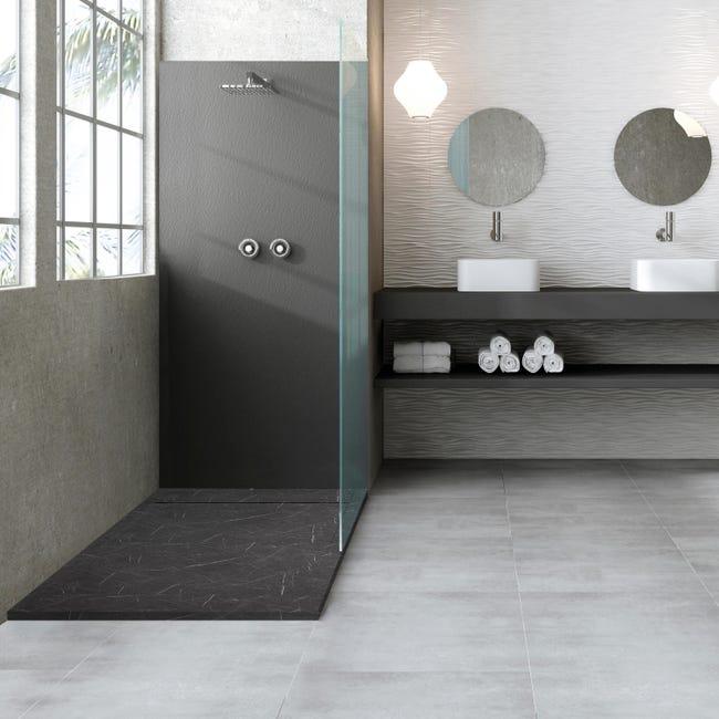 Piatto doccia gelcoat Neo marmo 70 x 80 cm nero - 1