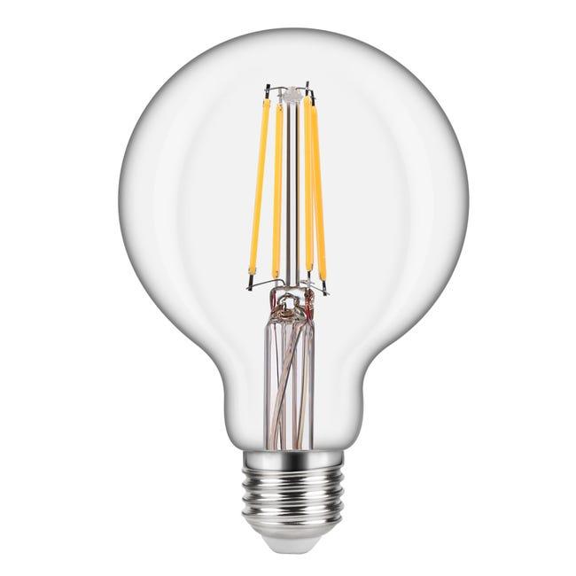 Lampadina LED filamento, E27, Globo, Trasparente, Luce naturale, 8W=1055LM (equiv 75 W), 360° , LEXMAN - 1