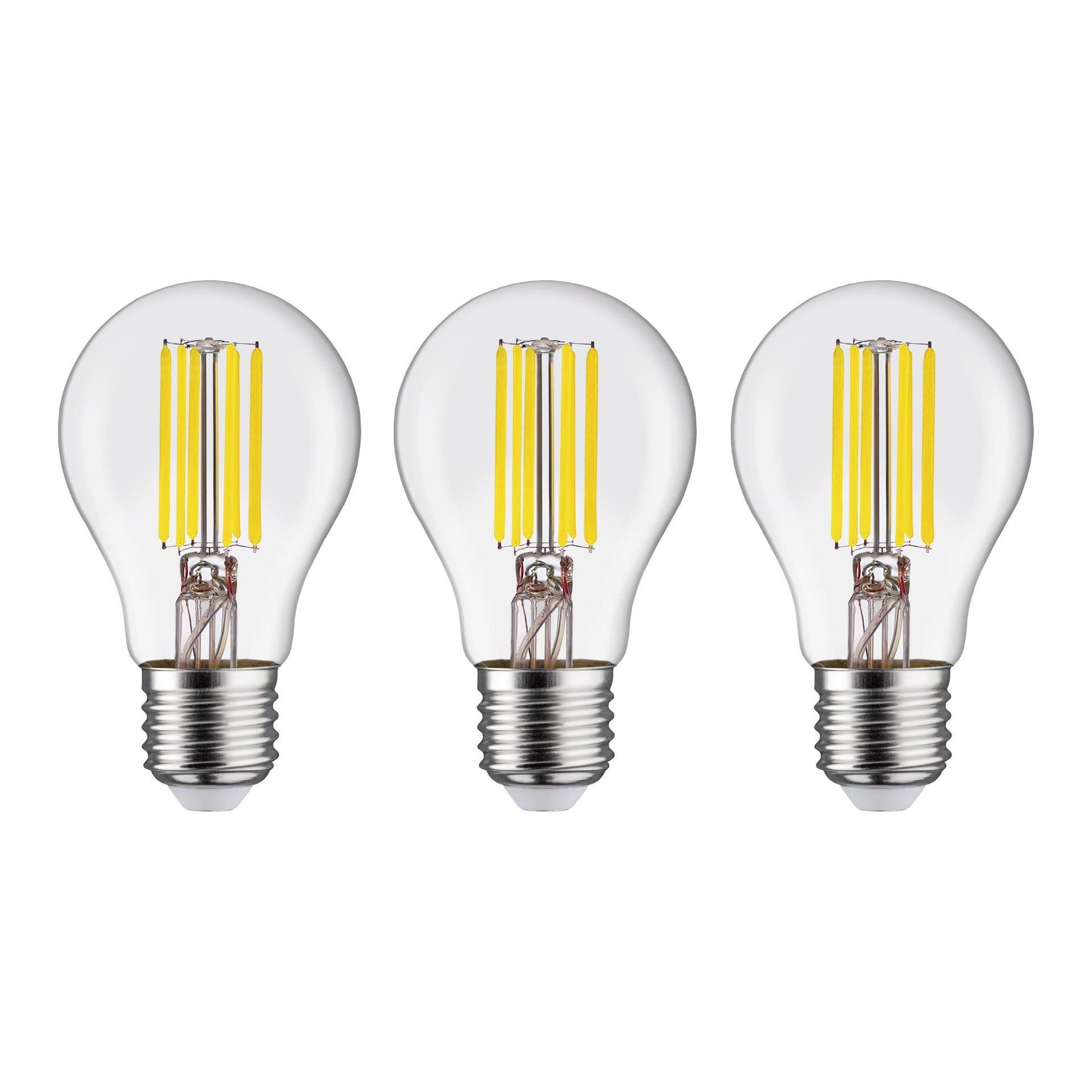 Set di 3 lampadine LED filamento, E27, Goccia, Trasparente, Luce naturale, 12W=1521LM (equiv 100 W), 360° , LEXMAN - 1