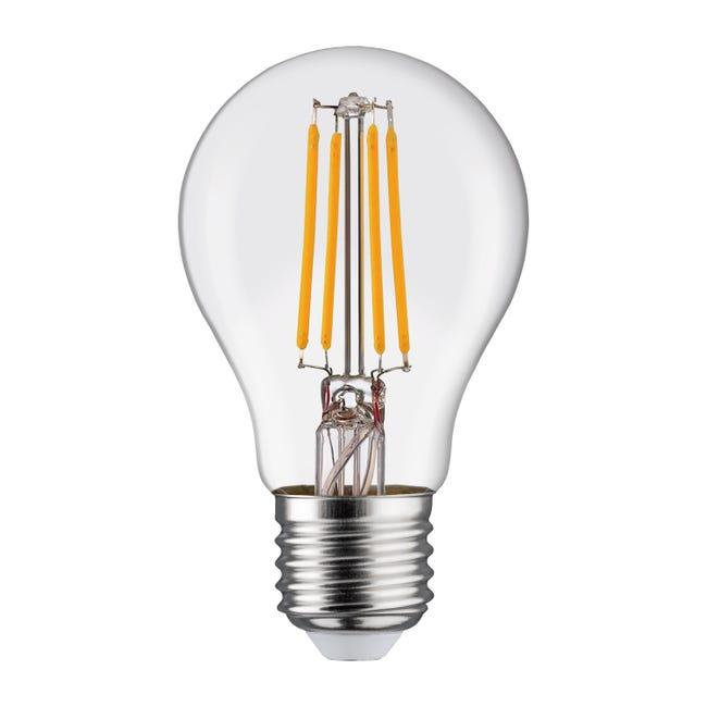Lampadina LED filamento, E27, Goccia, Trasparente, Luce calda, 6W=806LM (equiv 60 W), 360° , LEXMAN - 1