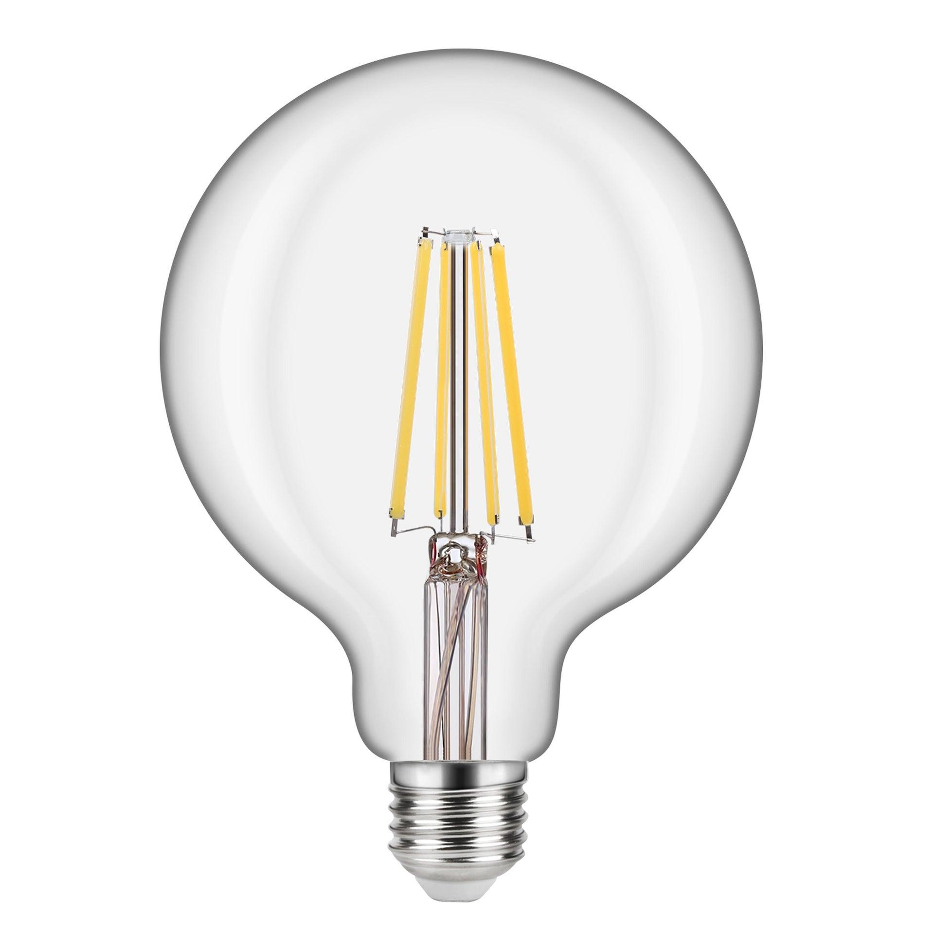 Lampadina LED filamento, E27, Globo, Trasparente, Luce calda, 10.5W=1521LM (equiv 100 W), 360° , LEXMAN - 1