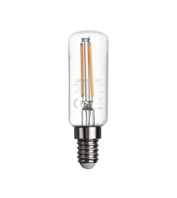 Lampadina LED, E14, Tubo, Trasparente, Luce calda, 2.5W=250LM (equiv 25 W), 360° , LEXMAN - 1