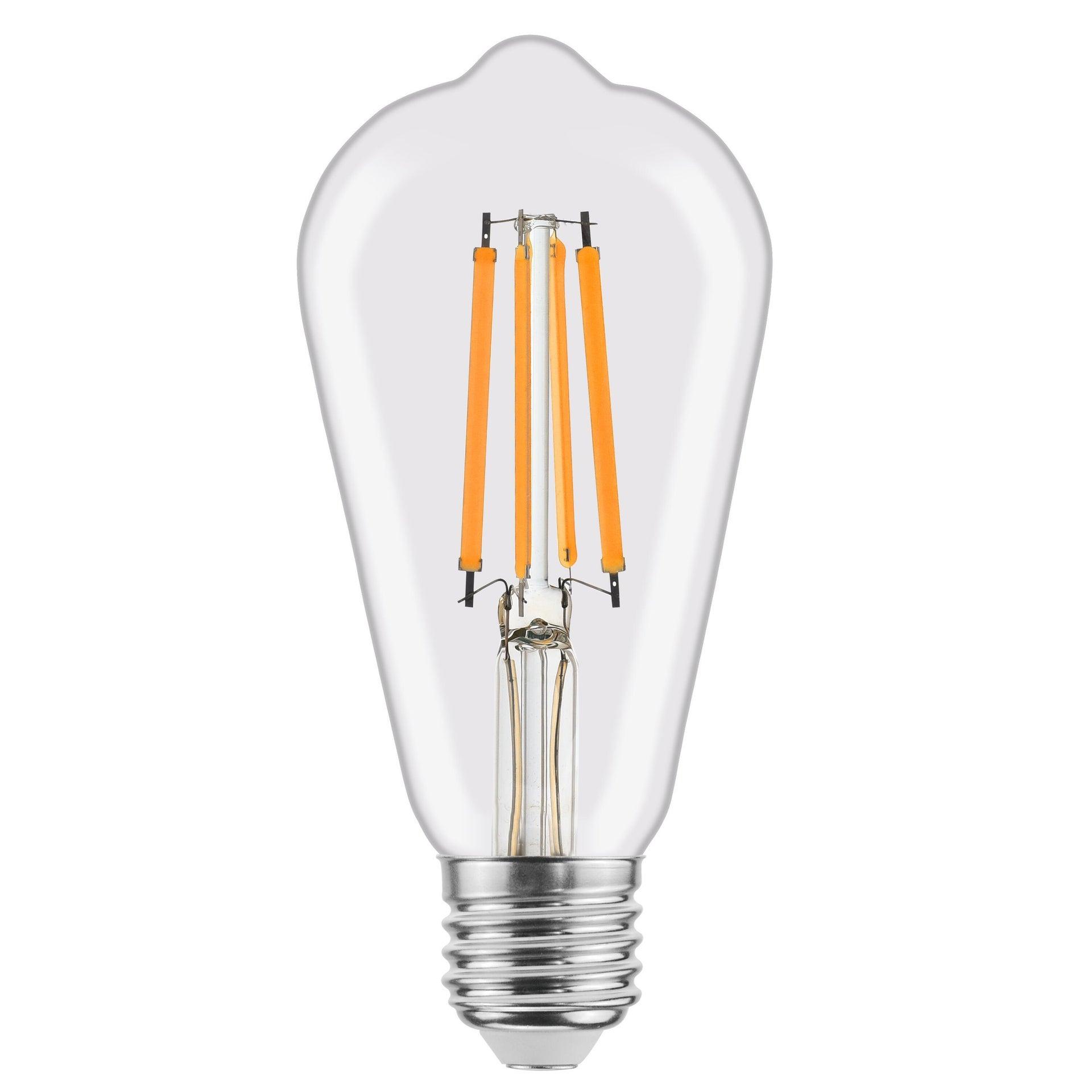 Lampadina LED filamento, E27, Goccia, Trasparente, Luce naturale, 8W=1055LM (equiv 75 W), 360° , LEXMAN - 1