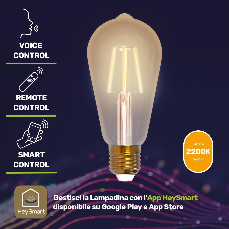 Lampadina smart lighting LED filamento, E27, Goccia, Fumé, Luce calda, 7W=600LM (equiv 7 W), 360° - 5