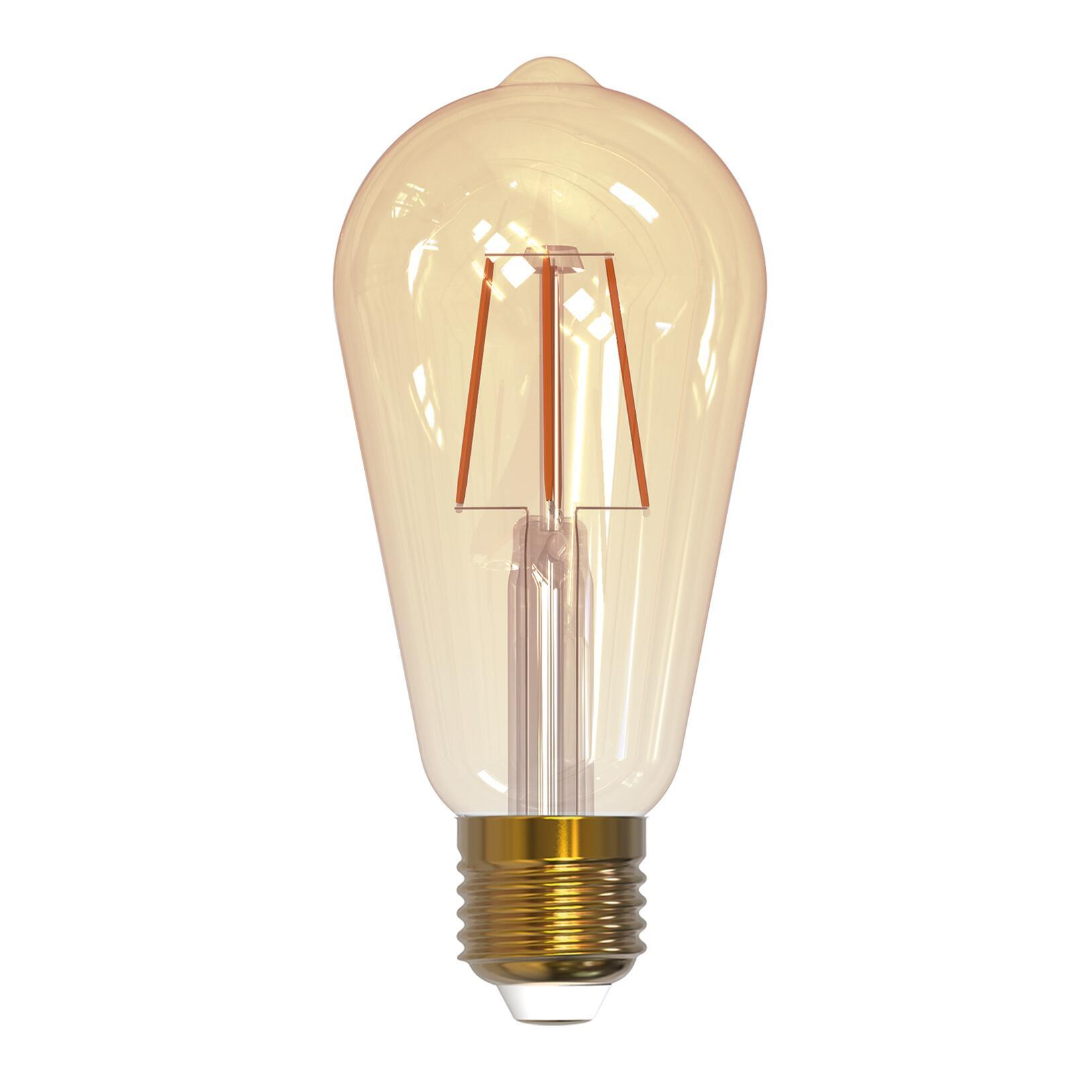 Lampadina smart lighting LED filamento, E27, Goccia, Fumé, Luce calda, 7W=600LM (equiv 7 W), 360° - 1