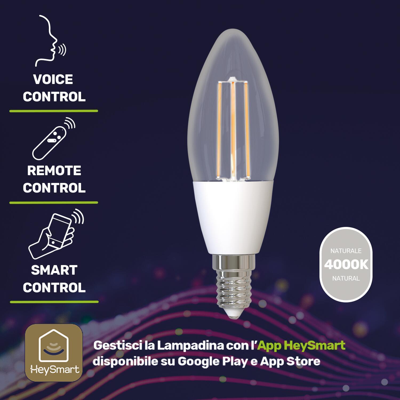 Lampadina smart lighting LED filamento, E14, Oliva, Trasparente, Luce naturale, 4.5W=480LM (equiv 4,5 W), 320° - 4