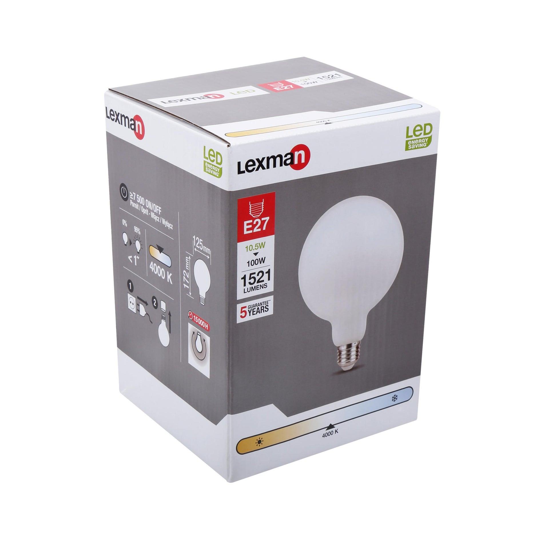 Lampadina LED, E27, Globo, Opaco, Luce naturale, 12W=1521LM (equiv 100 W), 360° , LEXMAN - 5