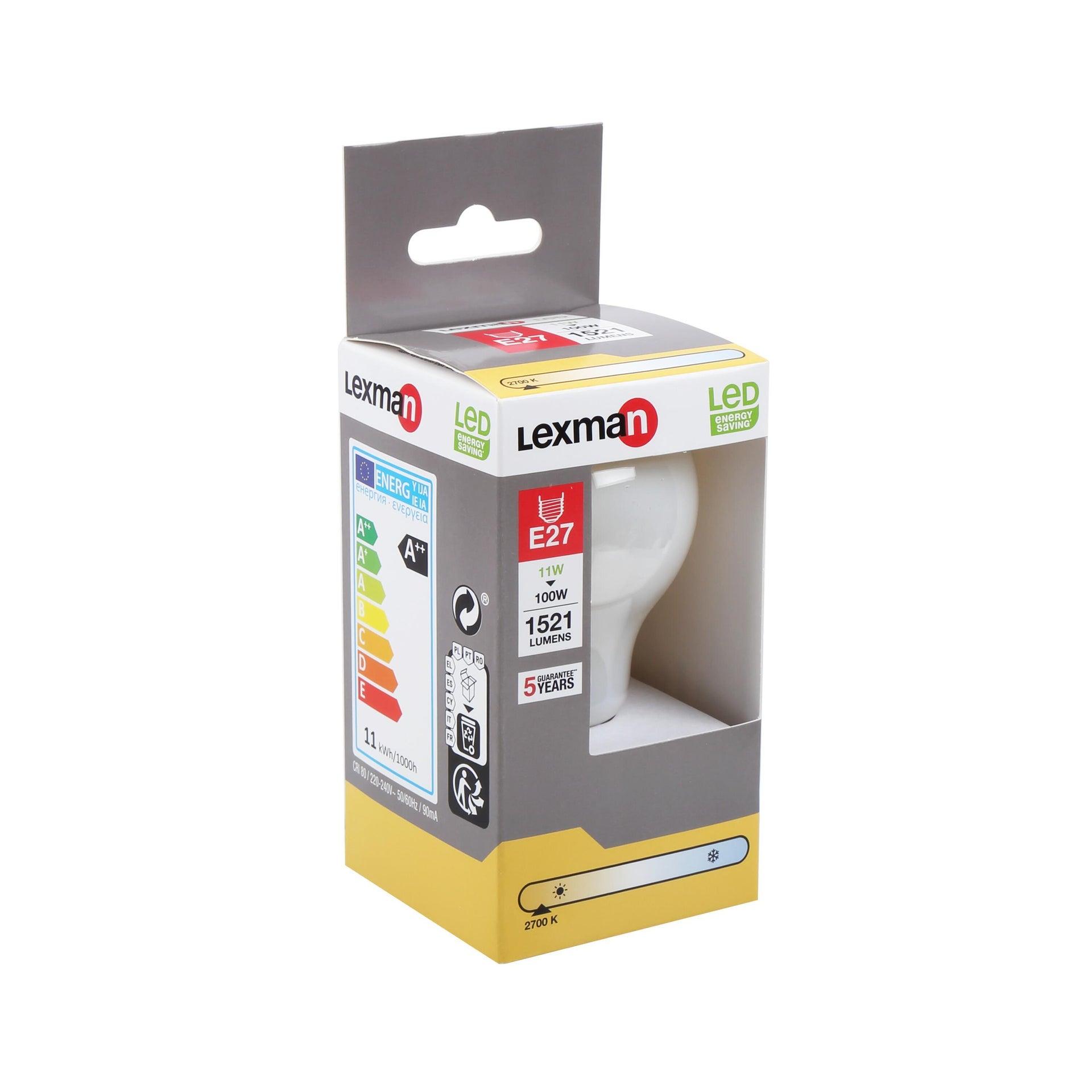 Lampadina LED filamento, E27, Goccia, Opaco, Luce calda, 11W=1521LM (equiv 100 W), 360° , LEXMAN - 9