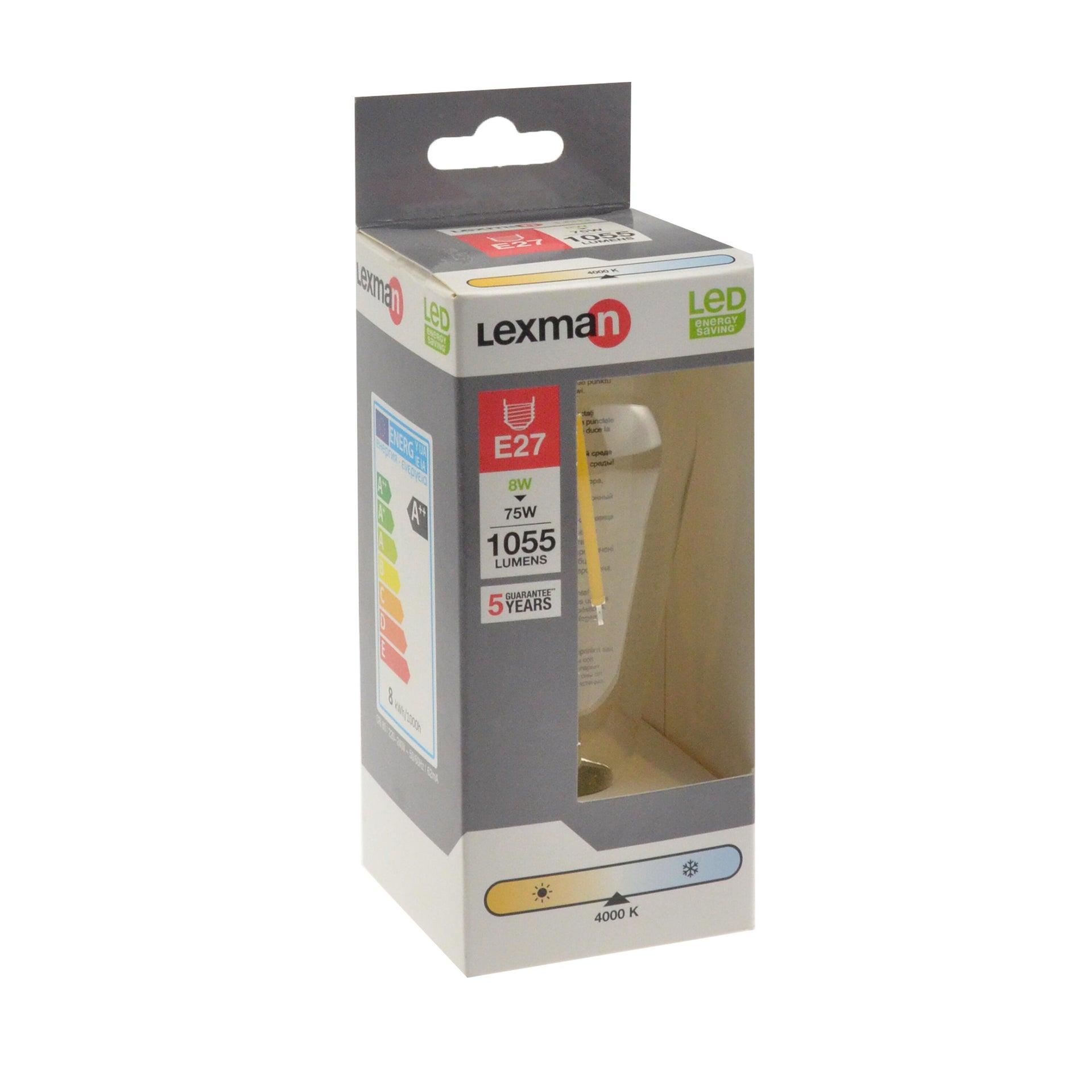 Lampadina LED filamento, E27, Goccia, Trasparente, Luce naturale, 8W=1055LM (equiv 75 W), 360° , LEXMAN - 3