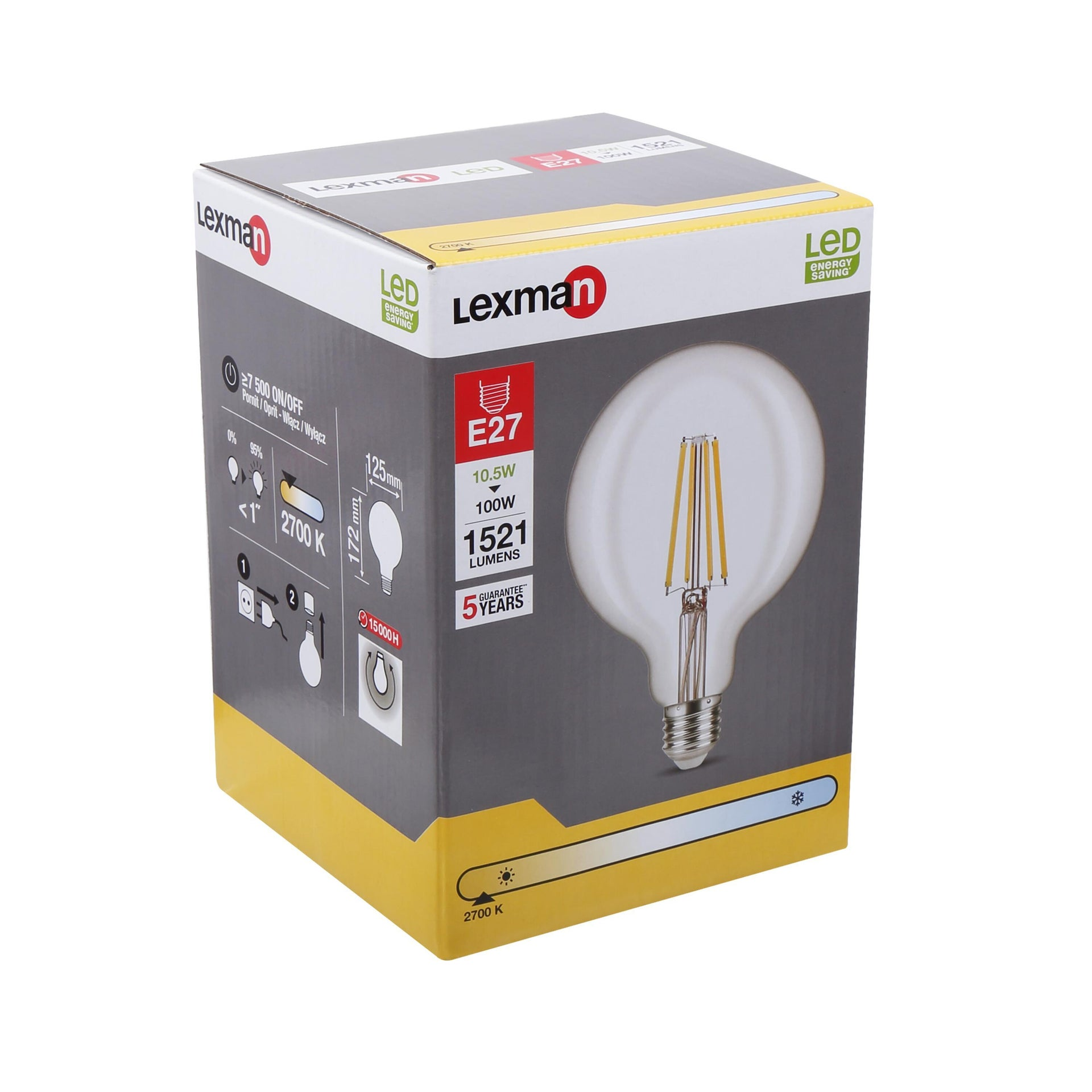 Lampadina LED filamento, E27, Globo, Trasparente, Luce calda, 10.5W=1521LM (equiv 100 W), 360° , LEXMAN - 6