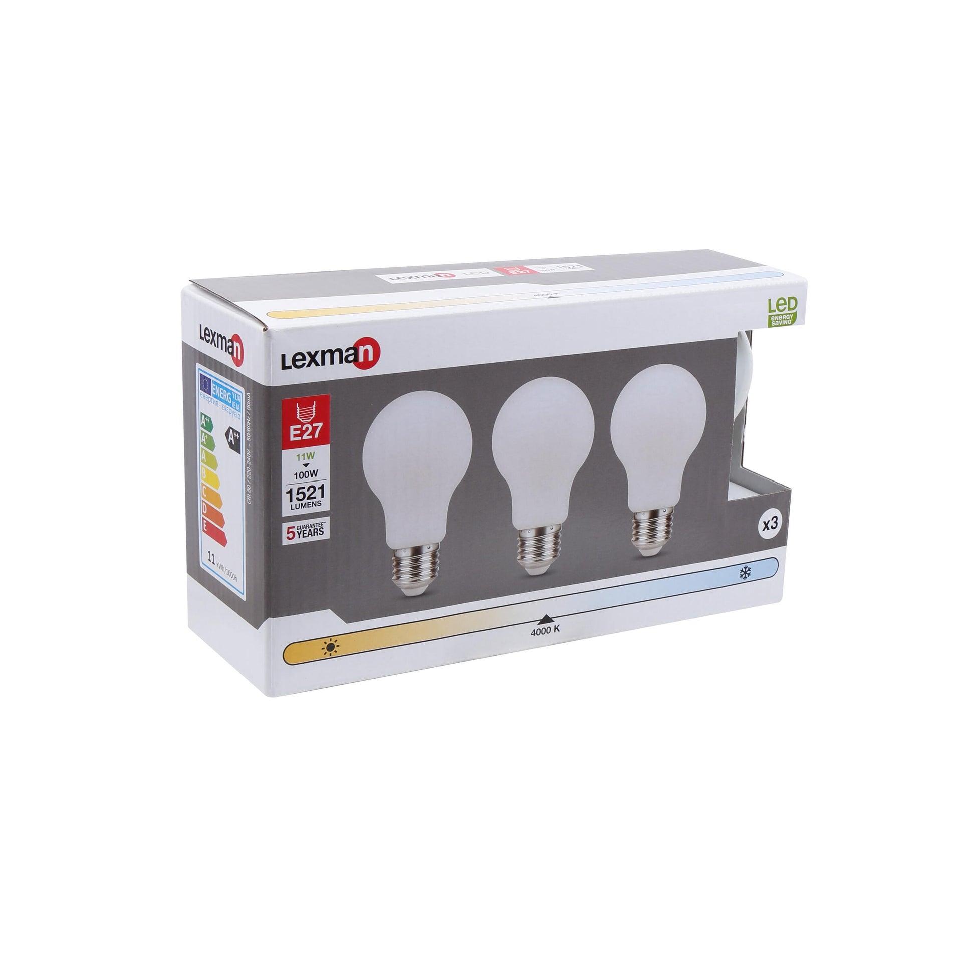 Set di 3 lampadine LED filamento, E27, Goccia, Opaco, Luce naturale, 11W=1521LM (equiv 100 W), 360° , LEXMAN - 5