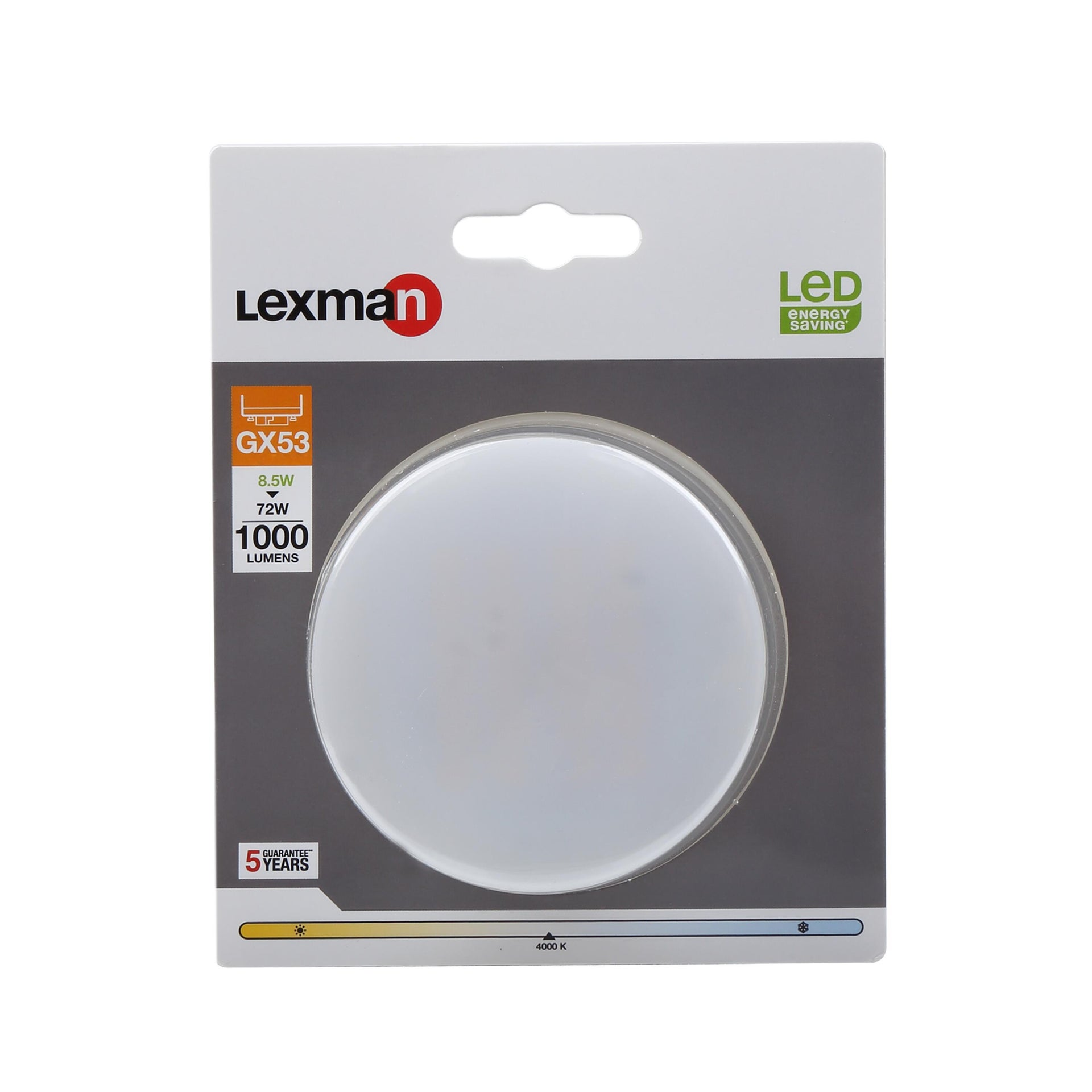 Lampadina LED, GX53, Specifico, Opaco, Luce naturale, 8.5W=1000LM (equiv 75 W), 110° , LEXMAN - 4