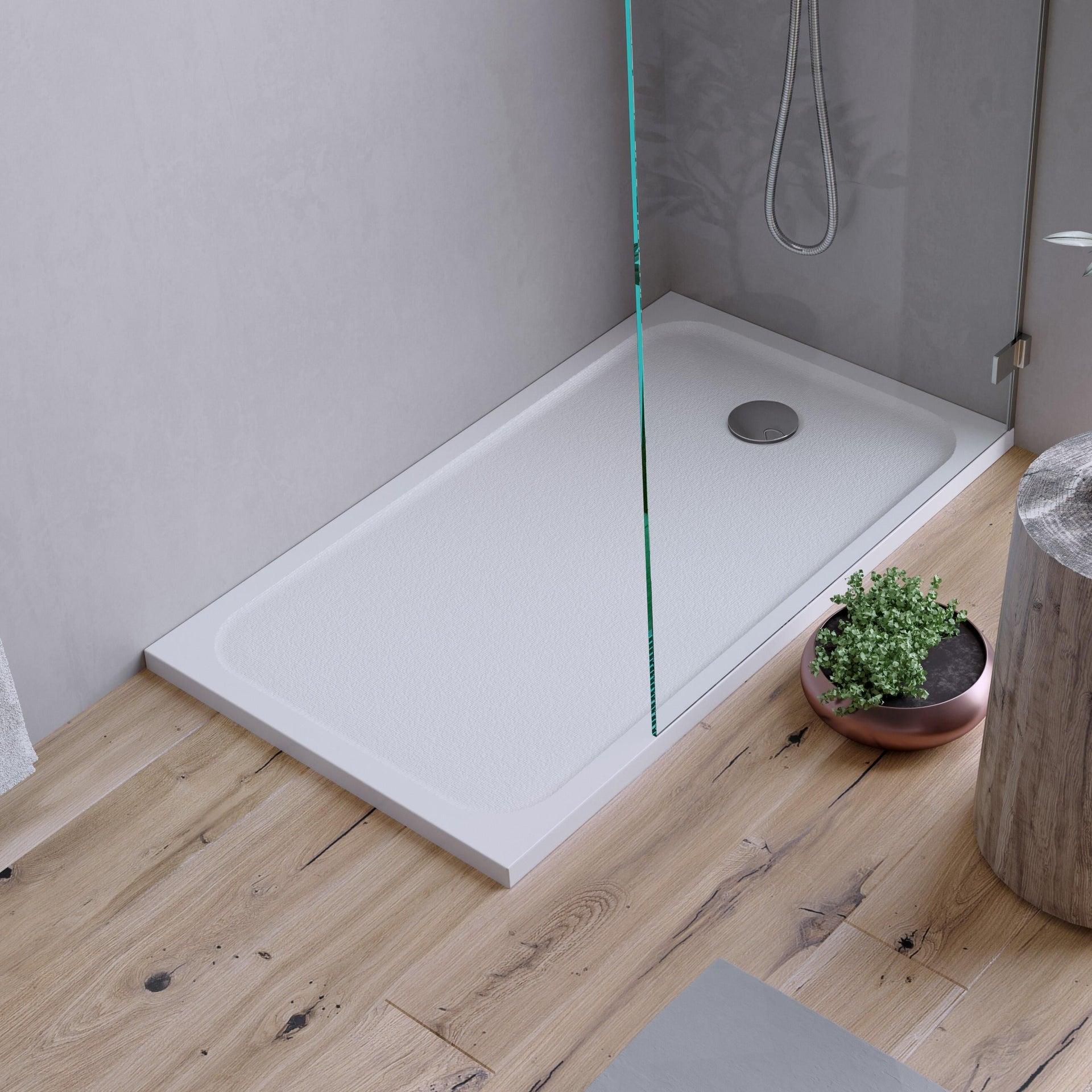 Piatto doccia resina sintetica e polvere di marmo Easy 80 x 120 cm bianco - 9