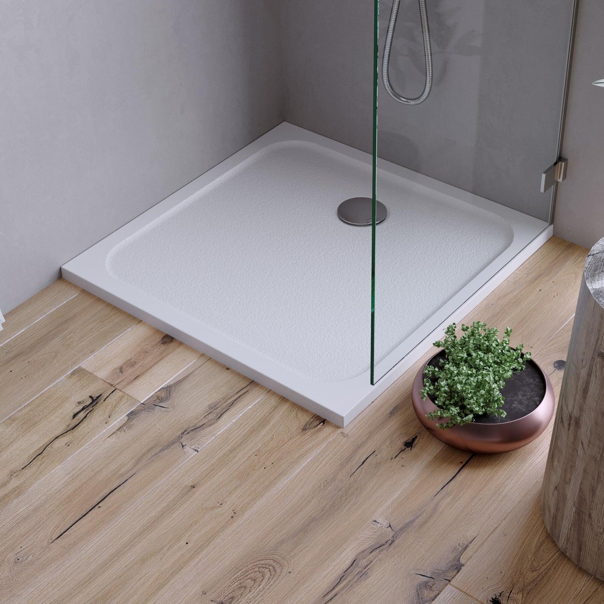 Piatto doccia resina sintetica e polvere di marmo Easy 80 x 80 cm bianco - 1