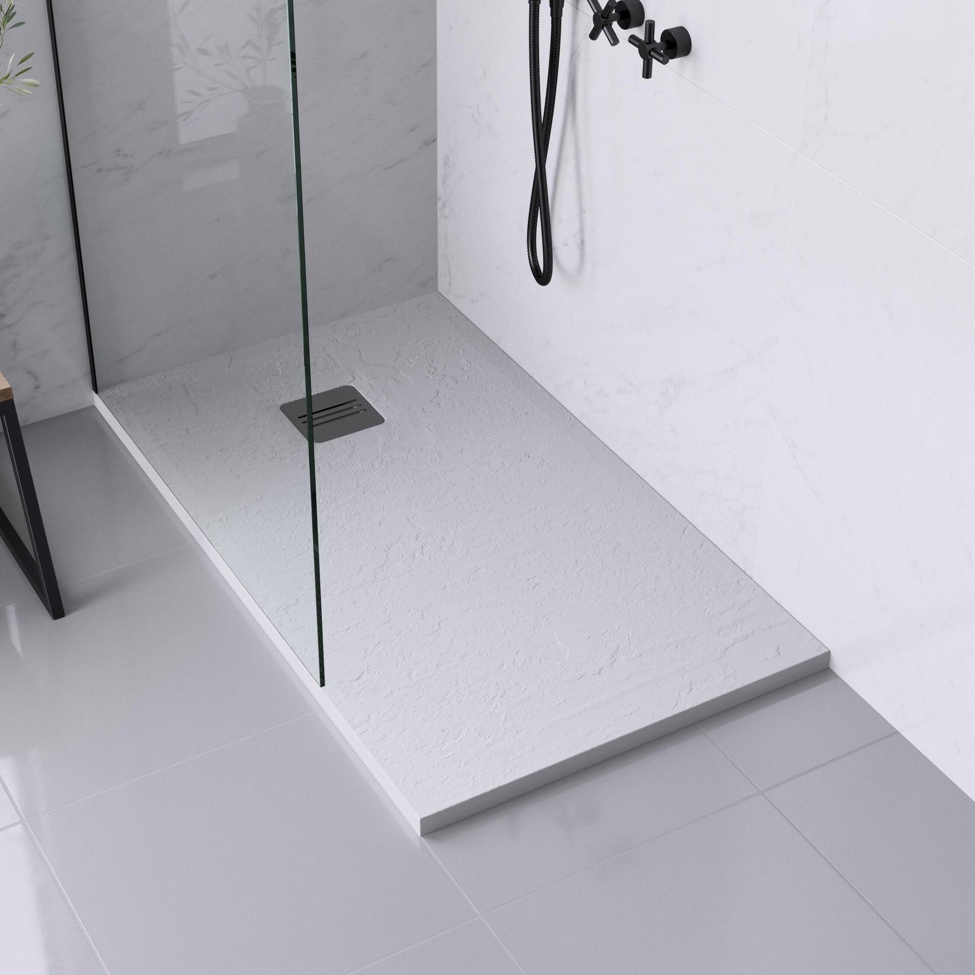 Piatto doccia ultrasottile resina sintetica e polvere di marmo Remix 70 x 120 cm bianco - 1