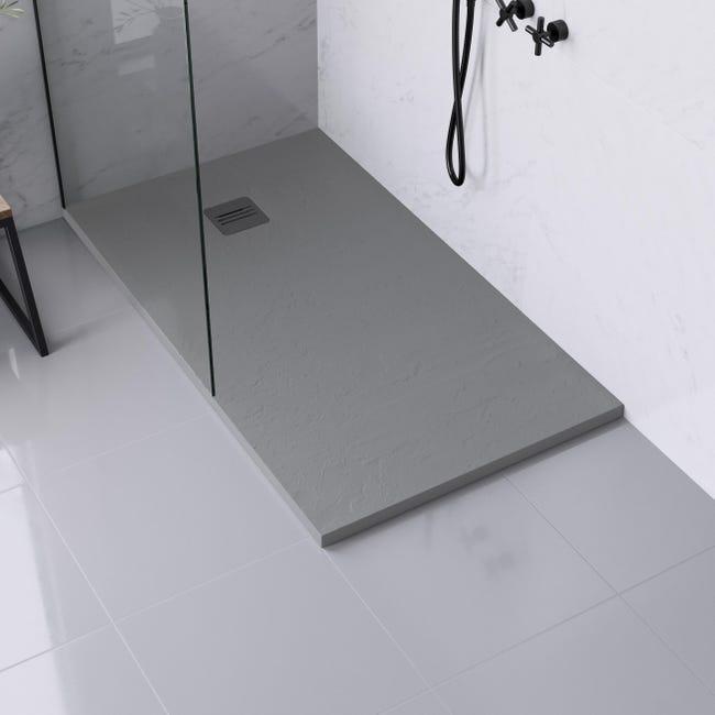 Piatto doccia ultrasottile resina sintetica e polvere di marmo Remix 80 x 140 cm grigio - 1