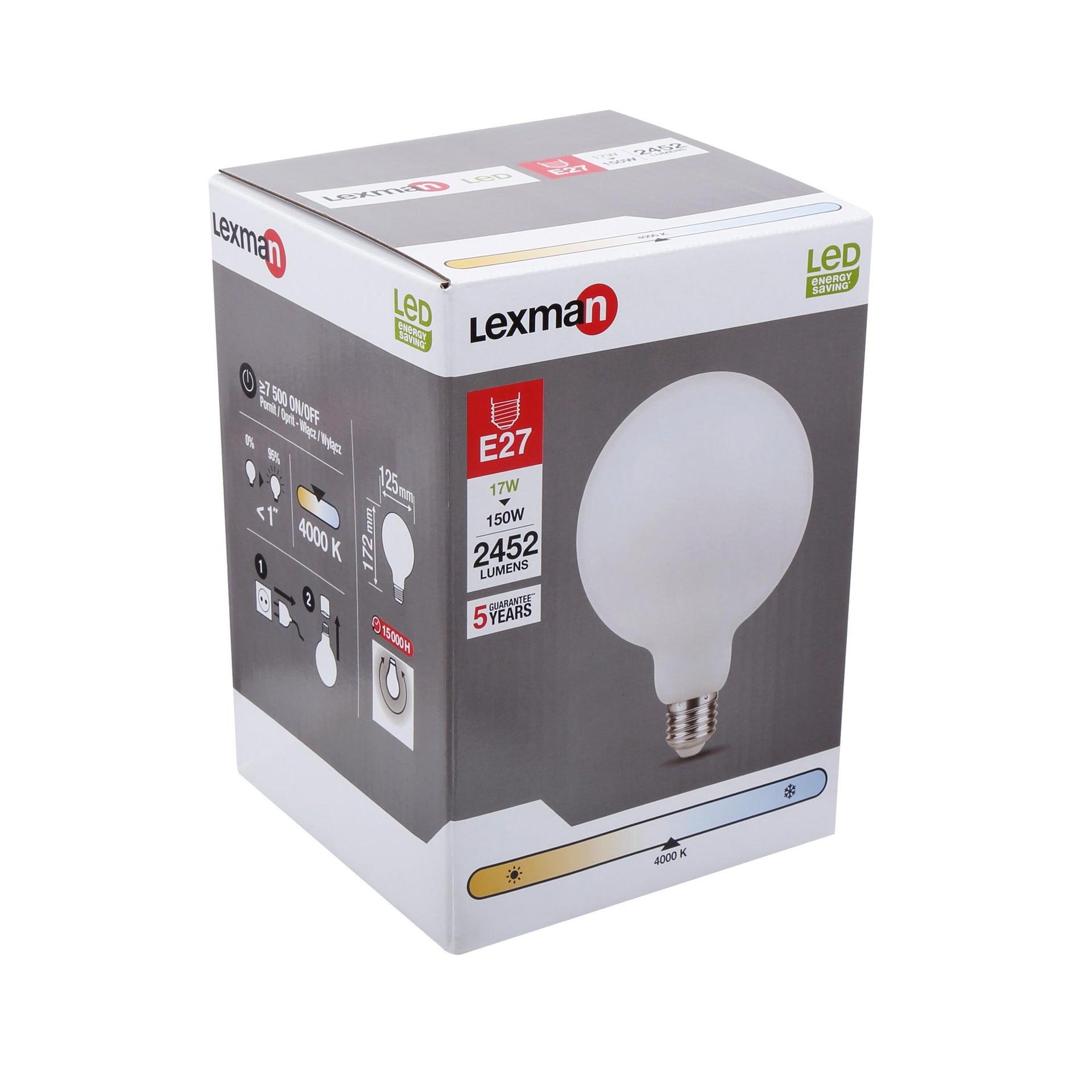 Lampadina LED, E27, Globo, Opaco, Luce naturale, 17W=2452LM (equiv 150 W), 360° , LEXMAN - 4