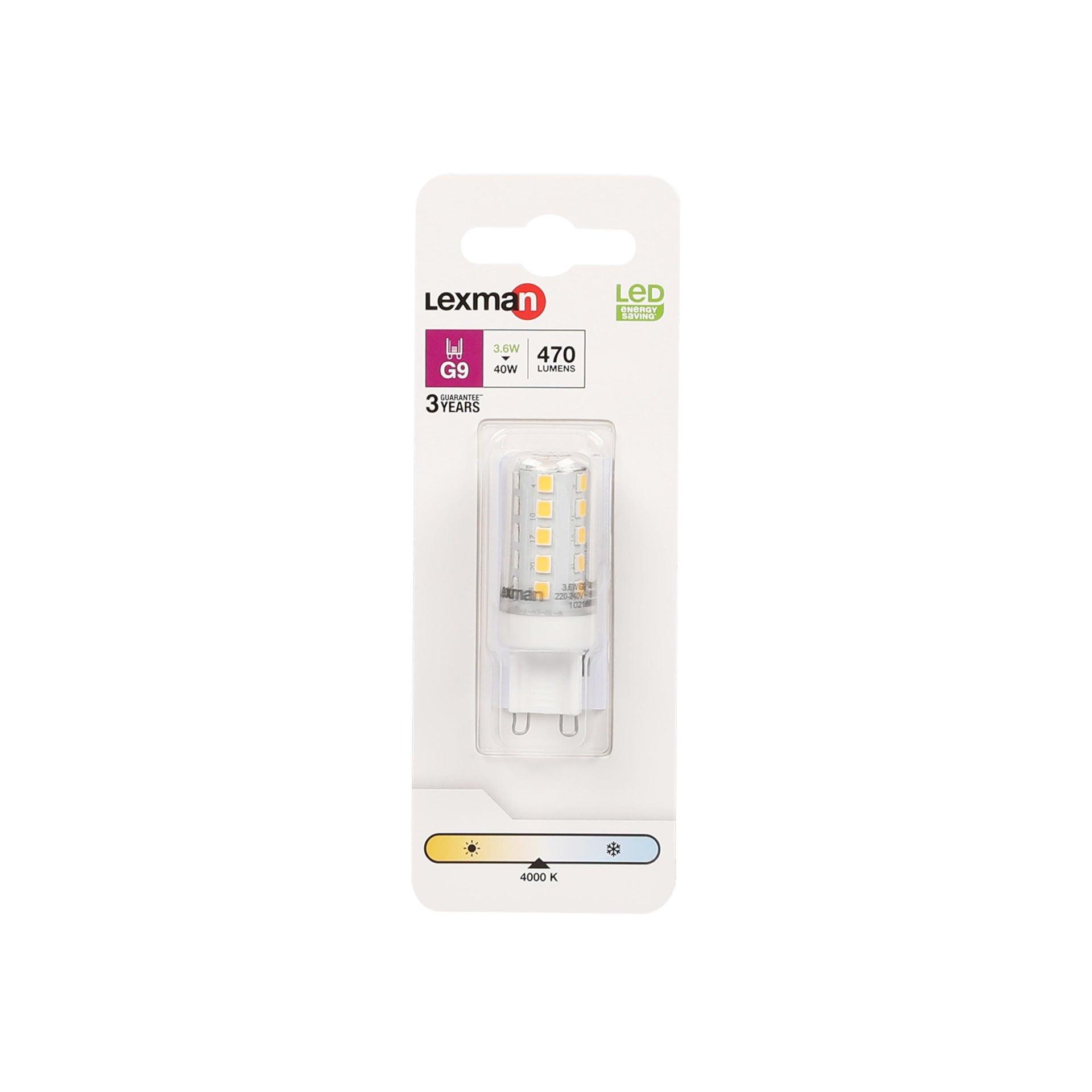 Lampadina LED, G9, Capsula, Trasparente, Luce naturale, 3.6W=470LM (equiv 40 W), 300° , LEXMAN - 5