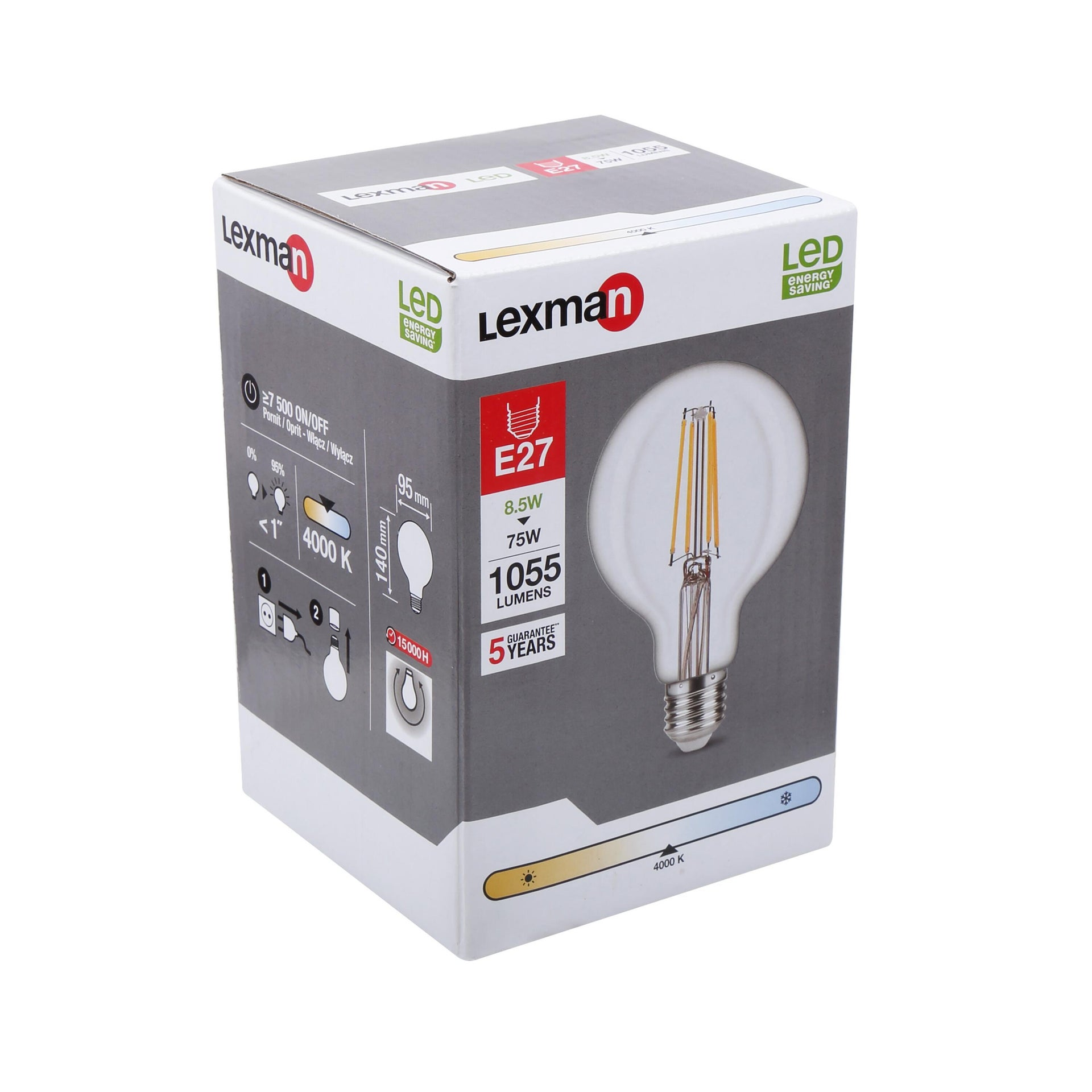 Lampadina LED filamento, E27, Globo, Trasparente, Luce naturale, 8W=1055LM (equiv 75 W), 360° , LEXMAN - 7