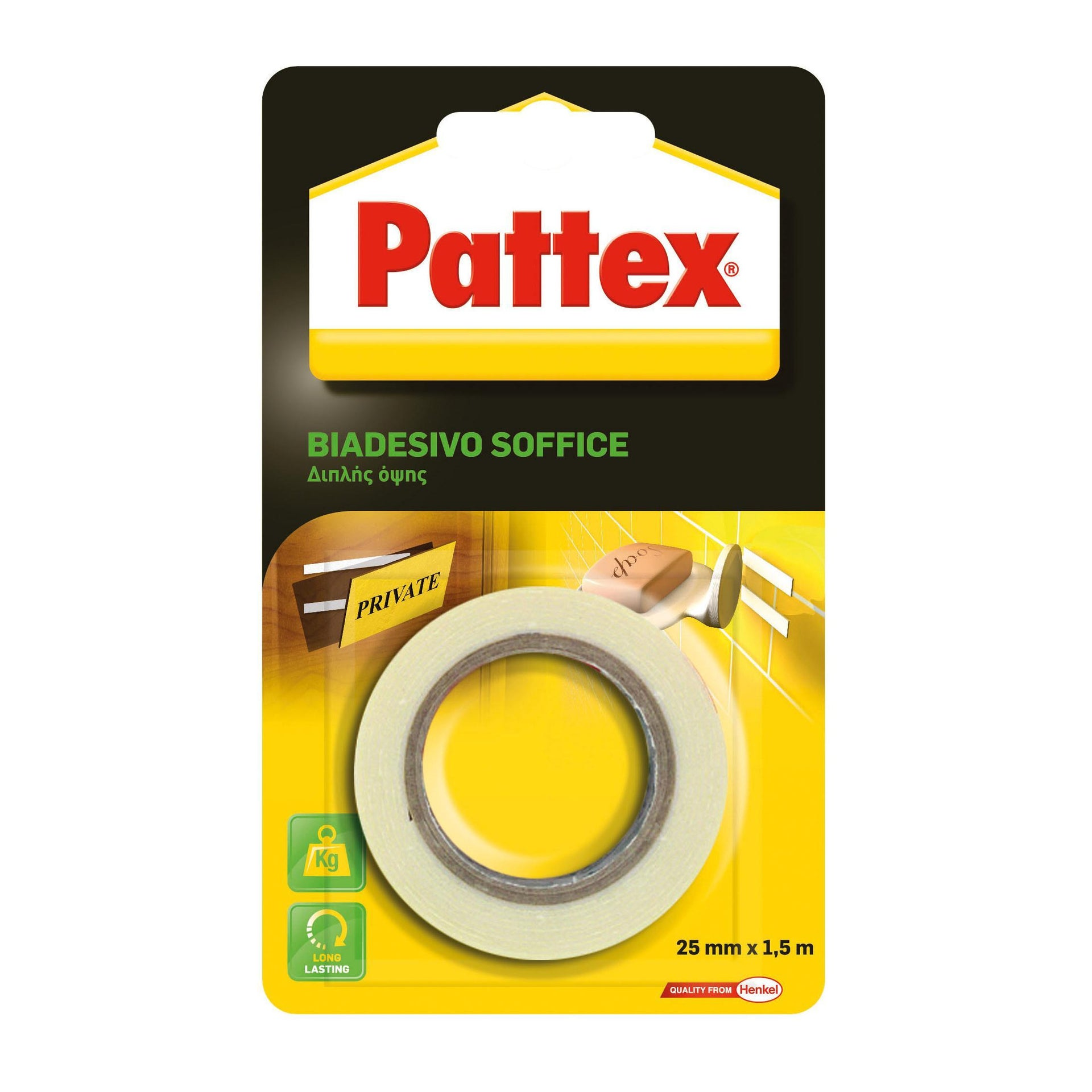 Nastro bi-adesivo PATTEX Biadesivo Soffice 1.5 m x 25 mm bianco